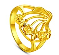 Flower's Secret 14k Yellow Gold Plated Placer Fashion Flower Adjustable Women's Ring NEVER FADE GOLD QUALITY