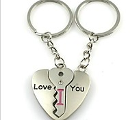 (2 PC) Beautiful Fashion Heart-Shaped Puzzle Creative Couple High-Grade Stainless Steel Keychain