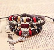 Vintage Key 20cm Women's Brown Leather Strand Bracelet()(1 Pc)