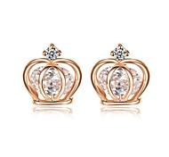 18 quilates Blanco / Rosa Pendientes Crown Colgante cristalino claro plateado oro de elementos de la SWA