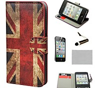 COCO FUN ® Das Union Jack-Muster Retro UK Flagge Mappe PU-Leder Hard Cases mit Stativ für iPhone 4S inklusive Film und Stylus