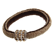 Fashion Elastic Diamante With Golden Gray Fabric Hair Ties For Women(1 Pc)