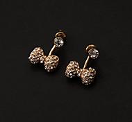 Rhinestone Bowknot Drop Earrings