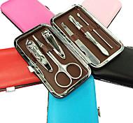6PCS coupe-ongles Manucure Kits Dans Pure Colour Manucure Sac en cuir (couleur aléatoire)