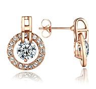 Lady `s Rhinestone Jewelry 18K Rose banhado a ouro brilhando Áustria Cristal Círculo brincos