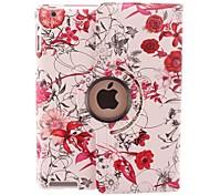 Luminoso-colorato la cassa di cuoio della vite del fiore di disegno girante da 360 gradi PU e stand per iPad 2/3/4