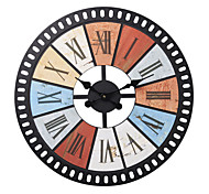 "24""H Retro Mechanical Style Wood Wall Clock"