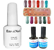 2PCS 14ml UV Top Coat Gel&Base Gel+1PCS 15ml UV Color Gel 12 Assorted Color NO.109-120