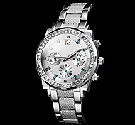 Women's Diamante Dial Number Round Dial Steel Band Quartz Luxury Watch (Assorted Color)