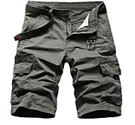 Men's Solid Casual Shorts,Cotton Black / Gray