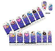 4x7PCS bleu de bande dessinée Cate Nail Art Stickers
