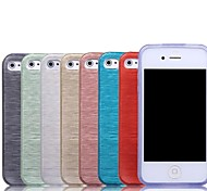 Solid Color Brushed TPU Soft  Case for iPhone 4/4S(Assorted Colors)