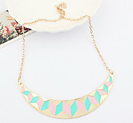 Fashion Half Circle Shape Colorful Pendent Necklace(Pink-Blue,Red-Blue)(1 Pc)