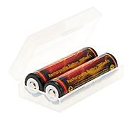 TrustFire 3000mAh 18650 (2pcs) com proteção de sobrecarga + 2pcs/Lot plástico caixa de armazenamento da bateria