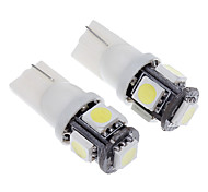 T10 1.5W 5-LED 120LM 6000K Cool White Light Bulb LED para carro (12V, 2pcs)