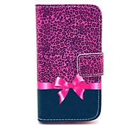 Leopard Bow Pattern PU Leather Case with Card Holder and Stand for Samsung Galaxy I8160