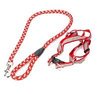 Adjustable Collar Strap Big Dog Pet Reflective Leash   Red (120CM  Length)