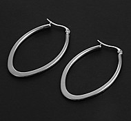 Fashion Simple 3.5CM Oval Shape Silver Stainless Steel Hoop Earrings (1 Pair)