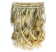 High Temperature Resistance 15 Inch Long Wavy 5 Clip Hairpiece Extension F24/613