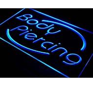 i538 Body Piercing Tattoo Shop Display Neon Light Sign