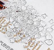 48PCS Mixs Pattern Silver Metal Nail Art Decorations
