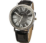 Women's Crystal Surface Leather Band Quartz Wrist Watch (Assorted Colors)