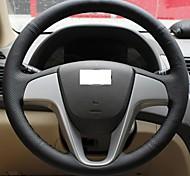 XuJi ™ Black Genuine Leather Steering Wheel Cover for Hyundai Solaris Verna I20 Accent