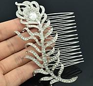 Rhinestone y Zircon Feather peine del pelo de la Mujer de la boda de dama de honor