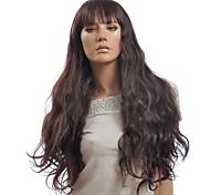Sin tapa marrón rizado largo peluca sintética