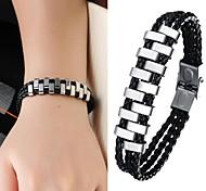 Super Cool Titan Stahl geflochtenen Seil Tide Herren-Leder-Armband
