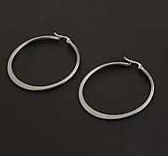 Fashion Simple 4.0CM Flat Shape Silver Stainless Steel Hoop Earrings (1 Pair)