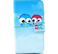 Cute Lover Owl Pattern PU Leather Case with Card Holder for Samsung Galaxy I8160