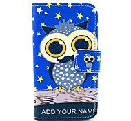 Night Star Owl Pattern PU Leather Case with Card Holder and Stand for Samsung Galaxy I8160