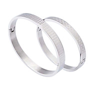 Fashion  Geometric Shape Couple  Silvery 316L Stainless Steel Bangle