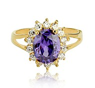 Prinzessin Kate Ring Oval Charm Fashion Party Ring-Gold überzogen Lila CZ Lady Amethyst Ring