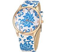 Women's Fashion Blue & wit porselein patroon pu band quartz horloge (verschillende kleuren)
