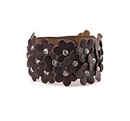 Women's Flower Pattern Artificial Leather With Diamond Bracelet(1pc)