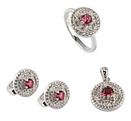 Fashion 925 Silver Plated Copper Zircon (lncludes Earring Ring and Pendants) Jewelry Set