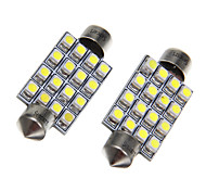 16x3528SMD White Light Bulb LED para carro (2pcs)