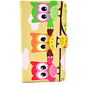 Colorful Owl Pattern Leather Full Body Soft Case with Stand for Samsung Galaxy Note3 N9000
