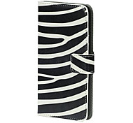 Negro con blanco del estampado del tirón del cuero del soporte imán Llevar Fit Funda para el Samsung Galaxy i9600 S5