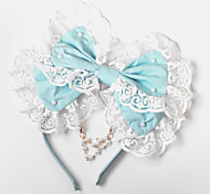Handmade Blue Cotton Bow Sweet Lolita Headpiece with Beads