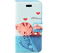 Cat Kissing Fish Pattern PU Full Body Case with Stand and Card Slot for iPhone 5C