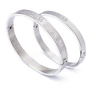 Fashion Roman Numerals Couple  Silvery 316L Stainless Steel Bangle