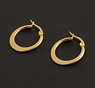 Fashion Simple 1.5CM Flat Shape Golden Stainless Steel Hoop Earrings (1 Pair)