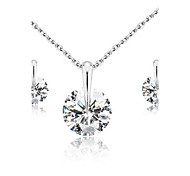Classic White  Rhodium Plated Wedding Jewelry Sets  Silver Jewelry Sets