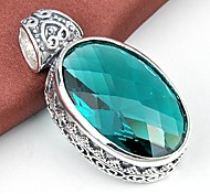 Ovale quartz vert Smoky Quartz Gemstone pendentif en argent 1 pc