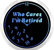 nc0963 Retired Who Cares Time Neon Sign LED Wall Clock