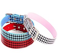 Small Colorful Plaid Design PU Leather Collars for Pets Dogs Cats (Blue,Red,Pink,Size XS/S/M)