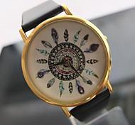 relógio de forma padrão de penas de pavão relógio das mulheres